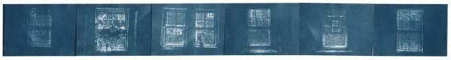 "Window plot, cyanotype contact prints of graphite drawings on vellum, 5"" x 41.5"", 2015"