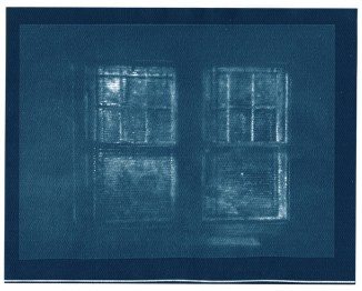 "Windows, cyanotype contact print of graphite drawing on vellum, 7.75"" x 10"", 2015"
