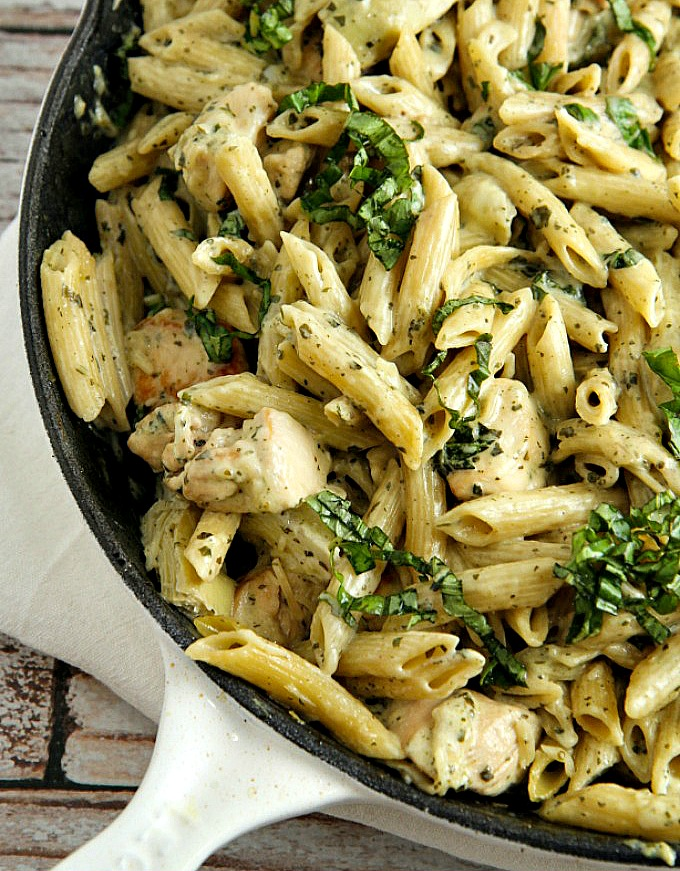 Chicken Pesto Pasta, shared by A Dish of Daily Life at The Chicken Chick's Clever Chicks Blog Hop