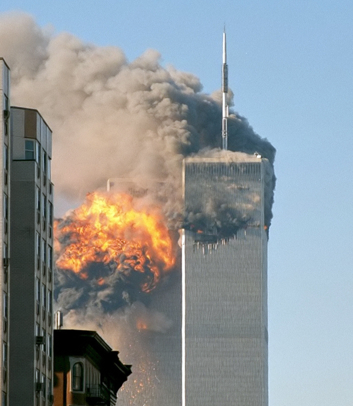 The North face of the Two World Trade Center (south tower) immediately after being struck by United Airlines Flight 175