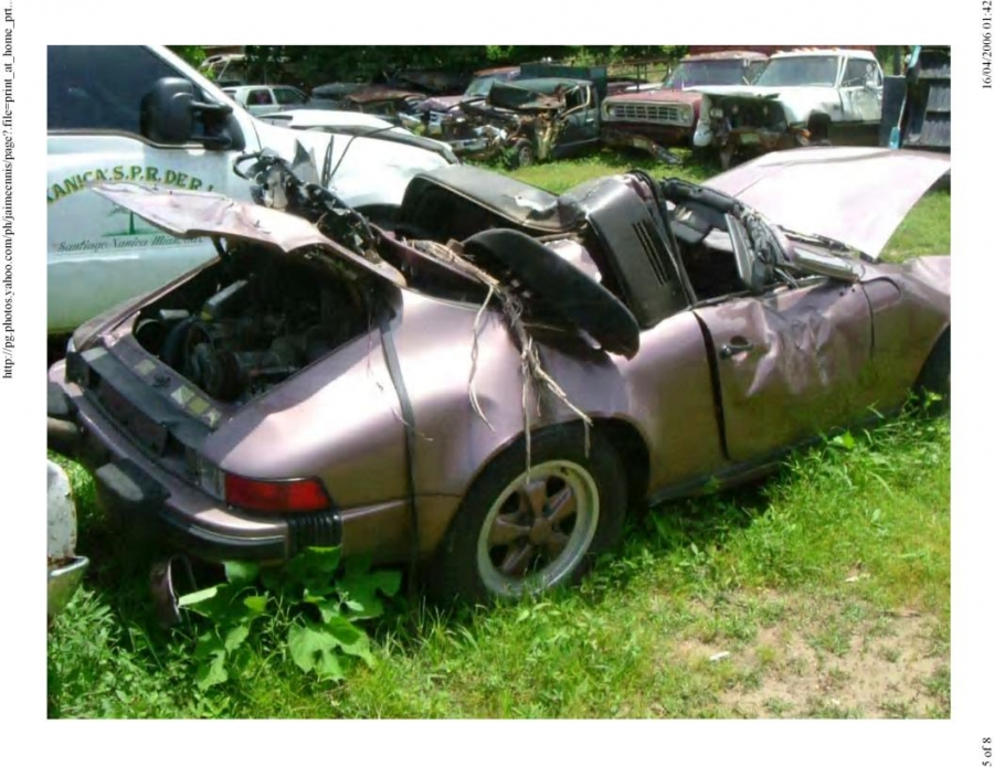 The wreck of an elegant porsche!
