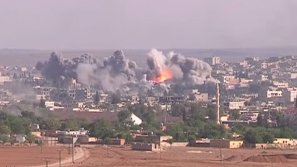 Coalition air strike on ISIS positions in Kobani, Northern Syria, October 2014