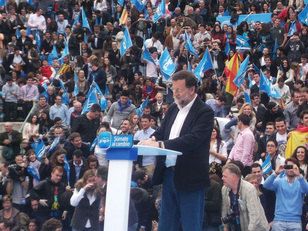 Mariano Rajoy, Prime Minister of Spain, addresses supporters in 2011 electoral campaign