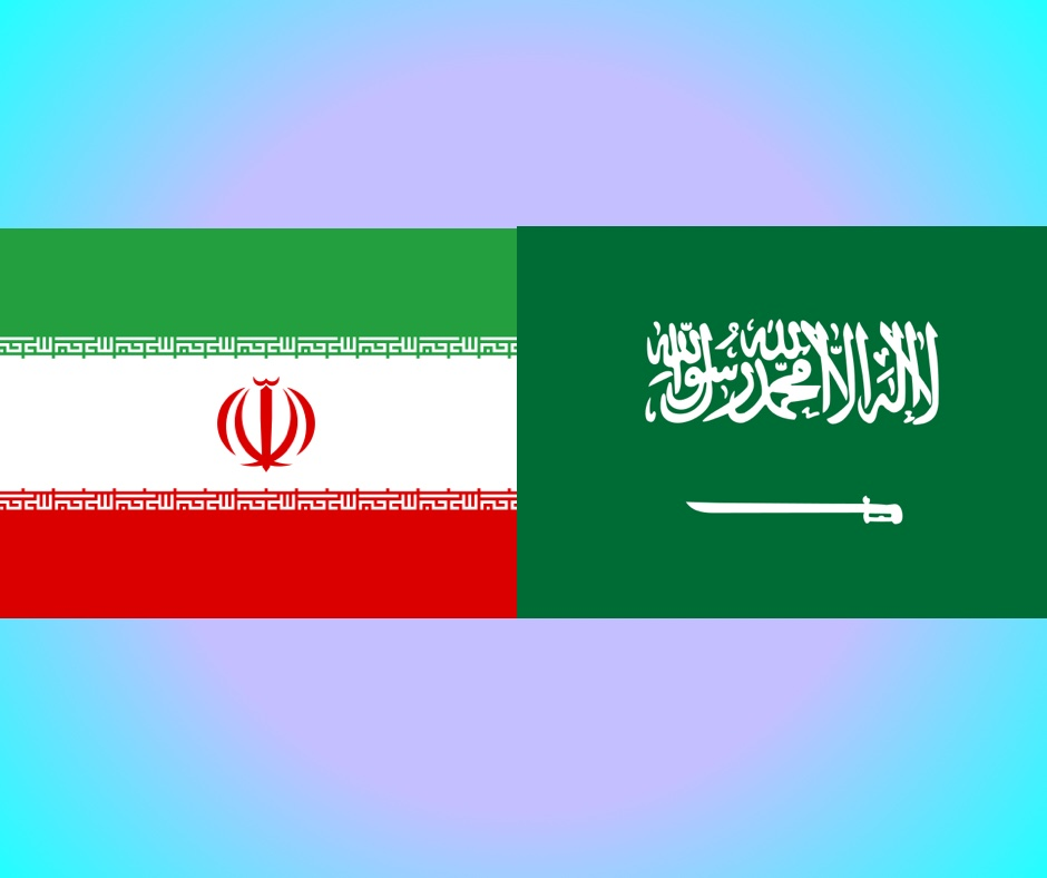 The flags of bitter enemies: Iran left, Saudi Arabia right