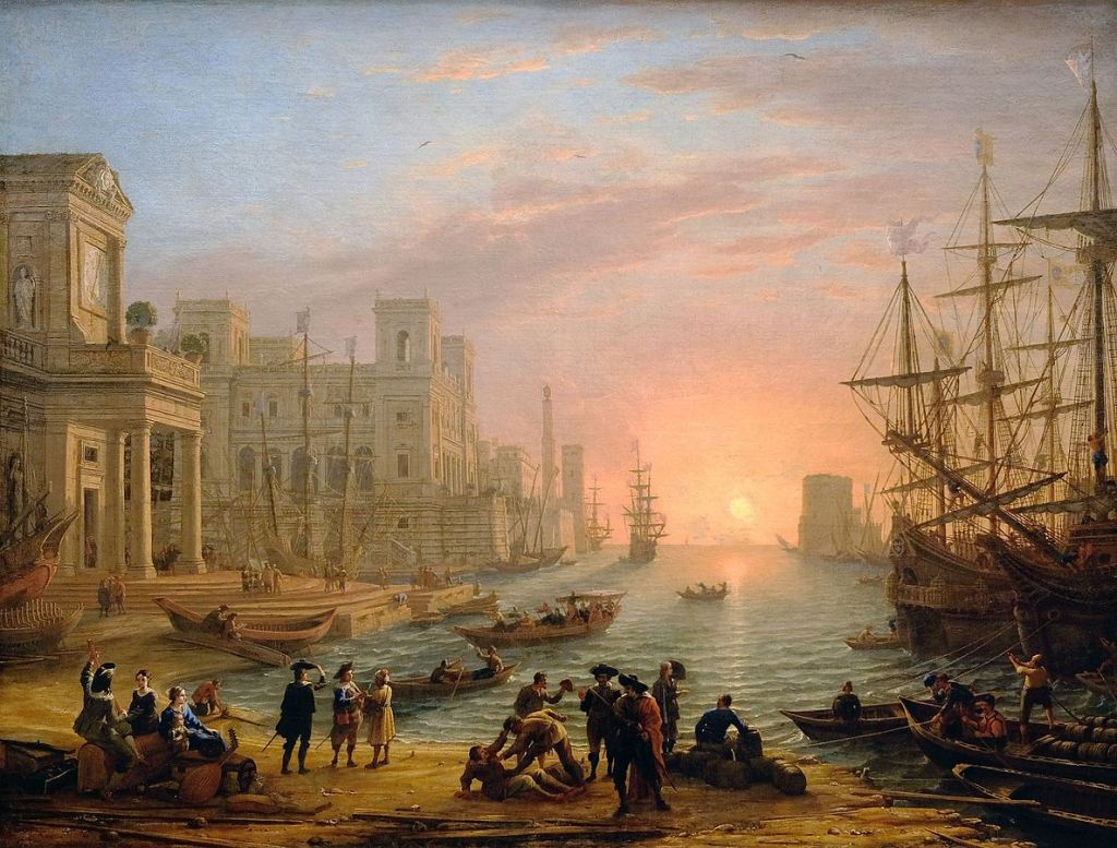 An imaginary European seaport painted by Claude Lorrain around 1639, at the height of mercantilism