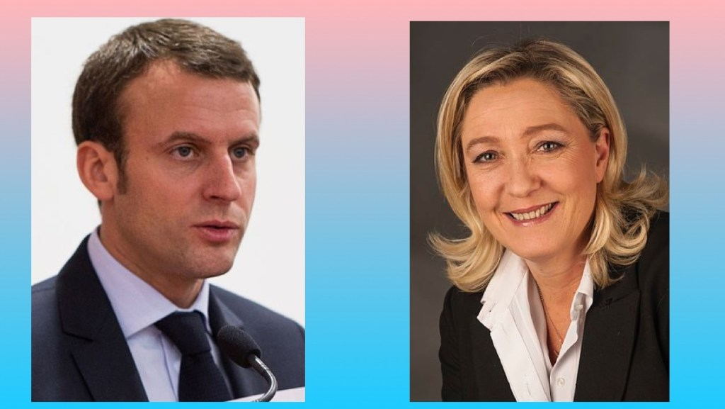 Emmanuel Macron and Marine Le Pen, winners of the April 23, 2017 first round of the French presidential election