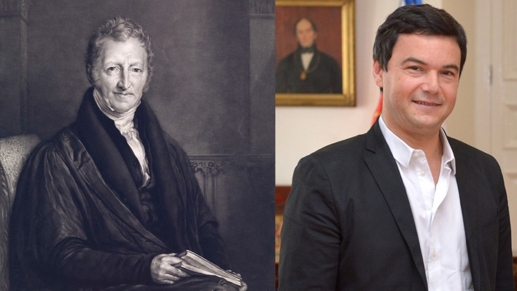 Like-minded thinkers: Thomas Robert Malthus (13 February 1766 — 29 December 1834), English cleric, scholar, and economist; and Thomas Piketty (7 May 1971 — ), French economist
