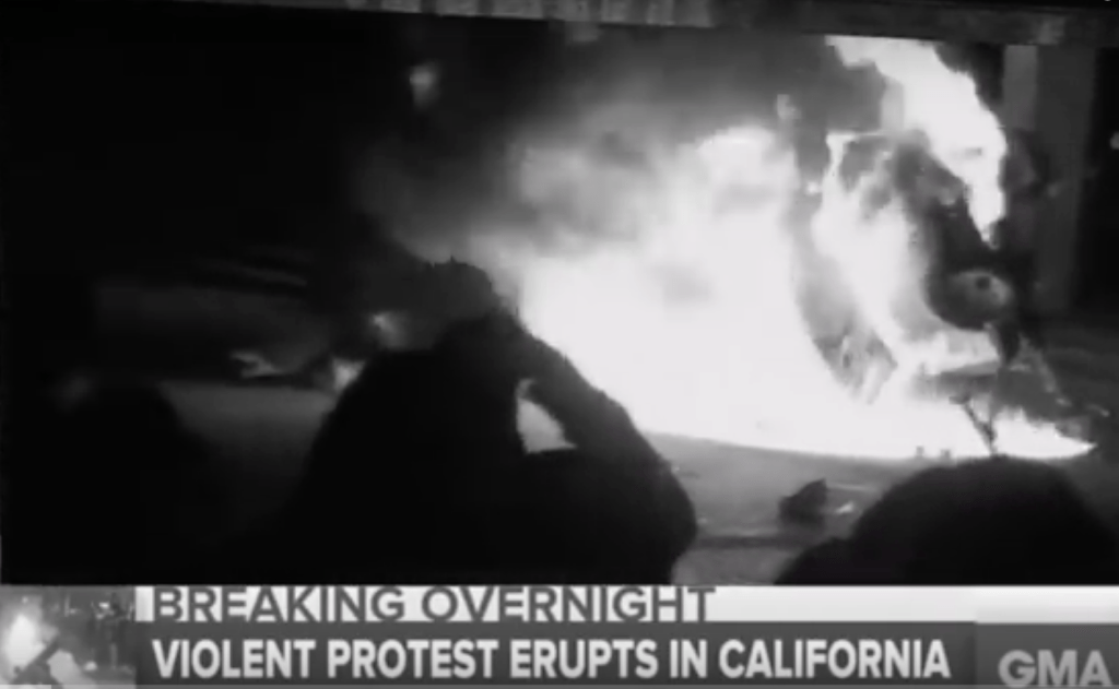 Riot by progressive students at the University of California, Berkeley against right-winger, Breitbart editor Milo Yiannopoulos