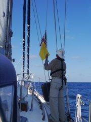 Steve hoisting the USA Courtesy and Quarantine flags