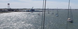 The Cape May anchorage - next to the Coast Guard Station (as seen by Steve from the top of the mast)