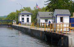 White, yellow and blue 'branding' of the Erie Canal
