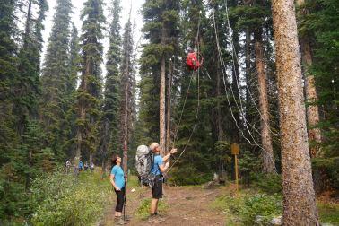 Greg demonstrating bear pole