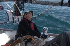 Steve checking sail trim