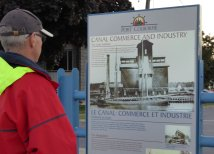 Steve reading about Port Colborne's canal history!