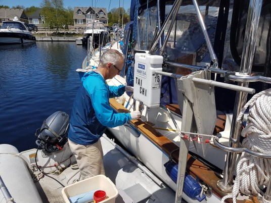 Steve painting toe rail
