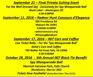 2016 Events for 007 Benefit