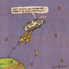 Illustratie van Hein de Kort bij de opinie-bijdrage van Herbert Blankesteijn in het Financieele Dagblad over het plan van Elon Musk om over een paar jaar met 100 toeristen naar Mars te vliegen