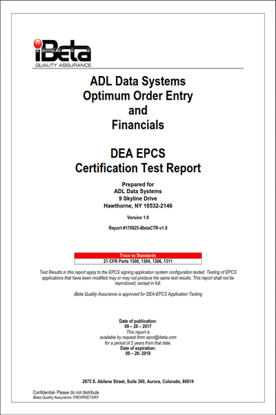 ADL Recertified for DEA EPCS Compliance - ADL Data Systems, Inc.