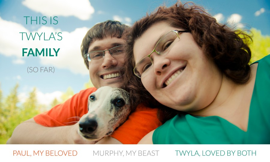 4th Anniversary Selfie: Twyla with her husband and whippet Murphy.