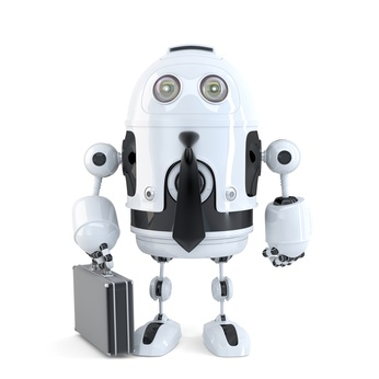 Robot with suitcase. Isolated. Clipping path