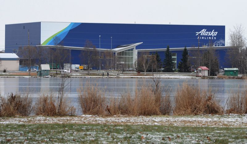 Frozen Spenard Lake is in front of the new Alaska Airlines Maintenance and Engineering Facility.(Bill Roth / ADN)