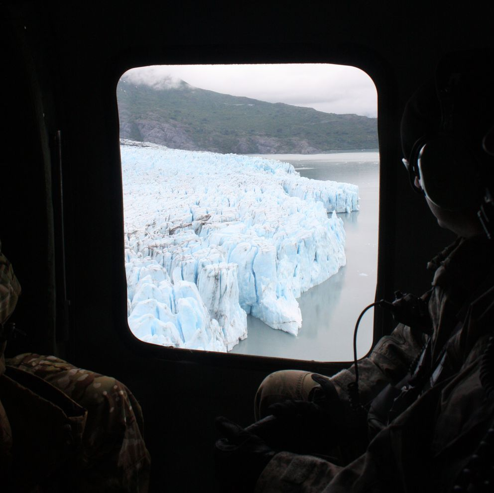 The crevassed toe of Colony Glacier, as seen from a Black Hawk helicopter on Wednesday, June 21. (Laurel Andrews / Alaska Dispatch News)