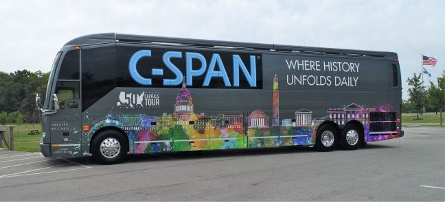 C-SPAN's bus travels around the country to promote the station. It has tablet computers, a selfie station and a television studio onboard. (Courtesy C-SPAN)