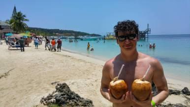 Adam coconuts in Roatan