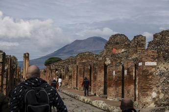 Pompei, distaccata porzione esterna di una parete