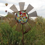garden art, steel and glass flowers