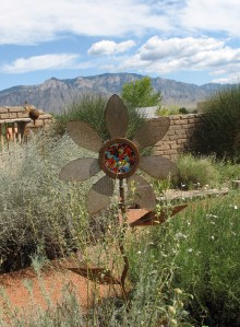 garden art, steel and glass flower