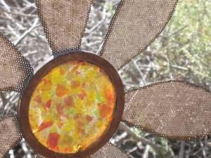 garden art, steel and glass flowers