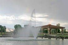 Adobe Falls fountain & gazebo with a rainbow
