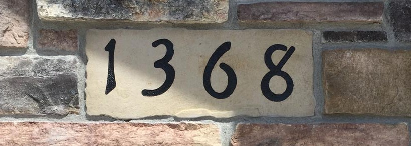 custom stonework address sign