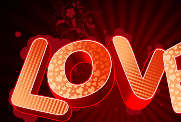 How to create 3D Love text composition in Adobe Photoshop CS4