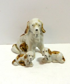 Porcelain Spaniel Mom with Pups Front 301- Dog's Tale Collectibles