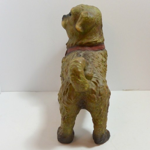 Terracotta Pug Dog with Glass Eyes Austrian Back 145- Dog's Tale Collectibles