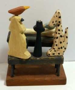 """"""" Folk Art Carved Wood Dogs, Cat and Birds Back 1- Dog's Tale Collectibles"""""""