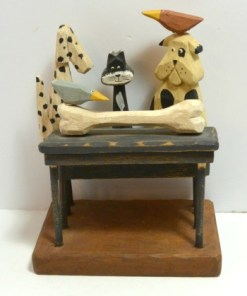 """"""" Folk Art Carved Wood Dogs, Cat and Birds Front 1- Dog's Tale Collectibles"""""""