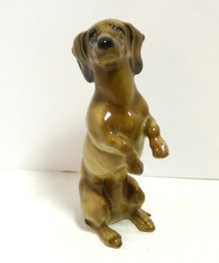 Porcelain Begging Dachshund Dog Front- Dog's Tale Collectibles