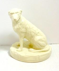 White Belleek Irish Wolfhound Dog Side 1- Dog's Tale Collectibles