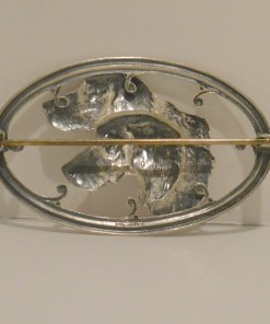 Silver Repousse Sporting Dogs Brooch Bck 5- Dog's Tale Collectibles