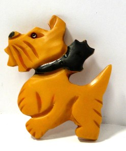 Large Bakelite Scottish Terrier with Bow Pin Front 5- Dog's Tale Collectibles