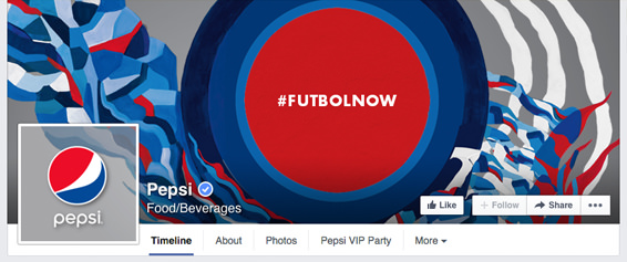 How pepsi combined their FB fan page cover photo with the profile picture, 2014 | #Facebook #design