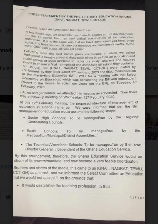 Pre-Tertiary Bill: New Management Structure will destabilise Teaching Profession - Teacher Unions 2
