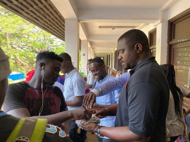 COVID-19: John Dumelo donates hand sanitizers to students of Legon and GIMPA