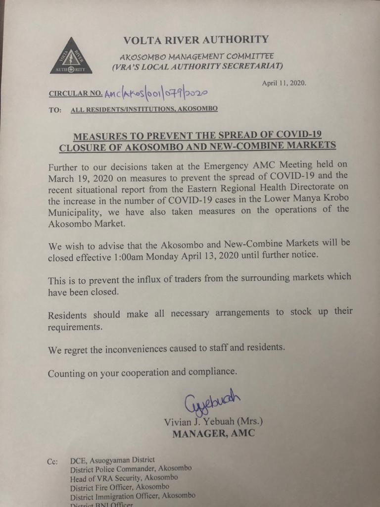 COVID-19: VRA to close down Akosombo market to prevent spread