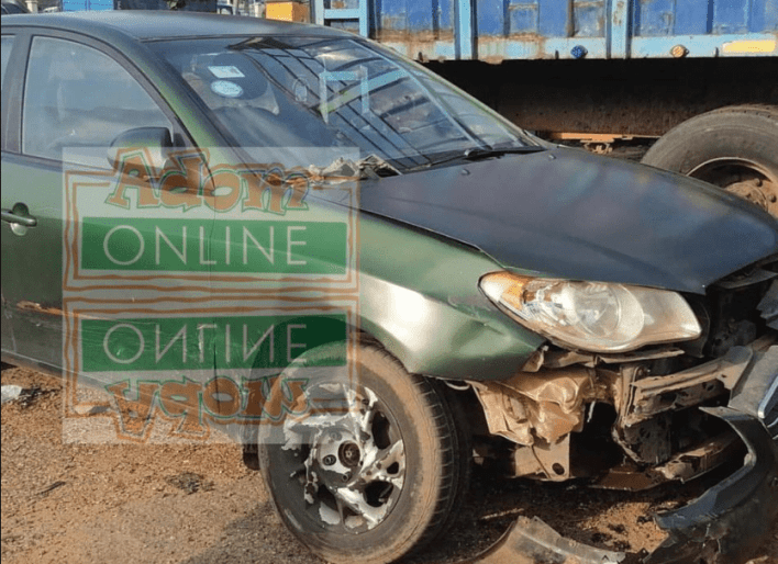 Lawyer Nti's damaged car after accident