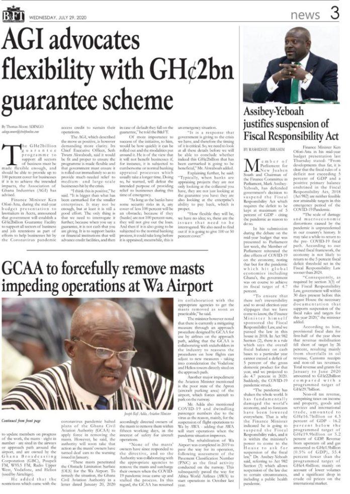 Newspaper Headlines: Wednesday, July 29, 2020 5
