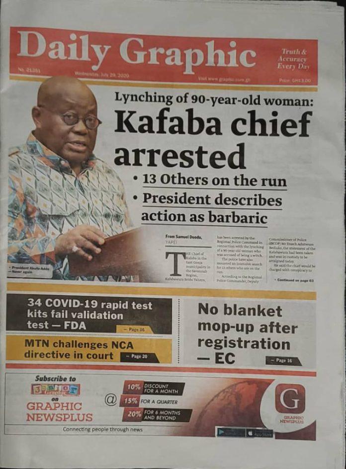 Newspaper Headlines: Wednesday, July 29, 2020 11